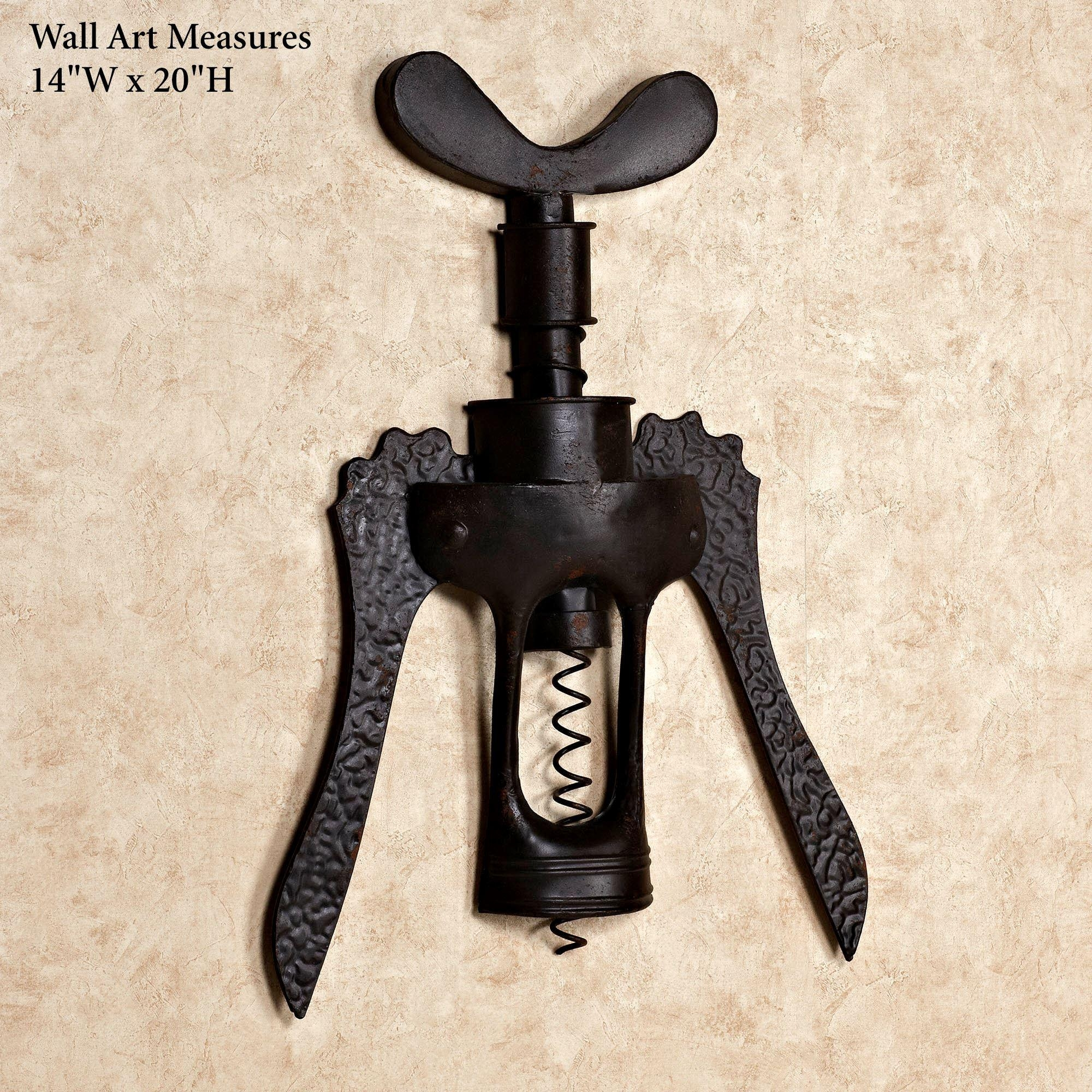 Antique Wine Corkscrew Iron Wall Art Throughout Wine Theme Wall Art (Image 1 of 20)