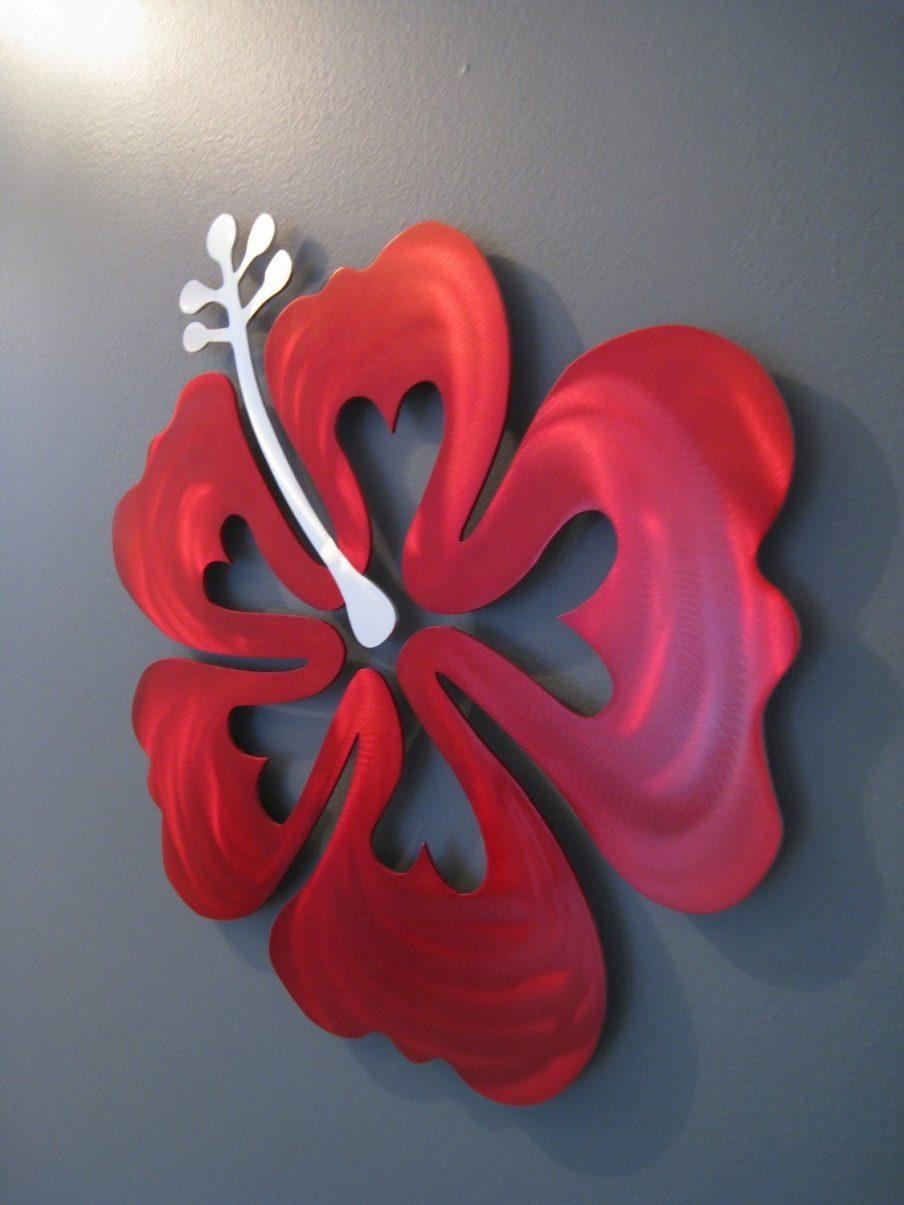 Appealing Umbra Metal Wall Flowers Set Of Two Flower Metal Flower Throughout Red Flower Metal Wall Art (Image 1 of 20)