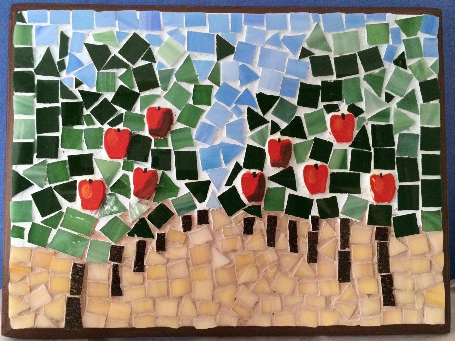 Apple Orchard, Diy Mosaic, Stress Relieving, Unique Gift, Wall Regarding Mosaic Wall Art Kits (Image 1 of 20)