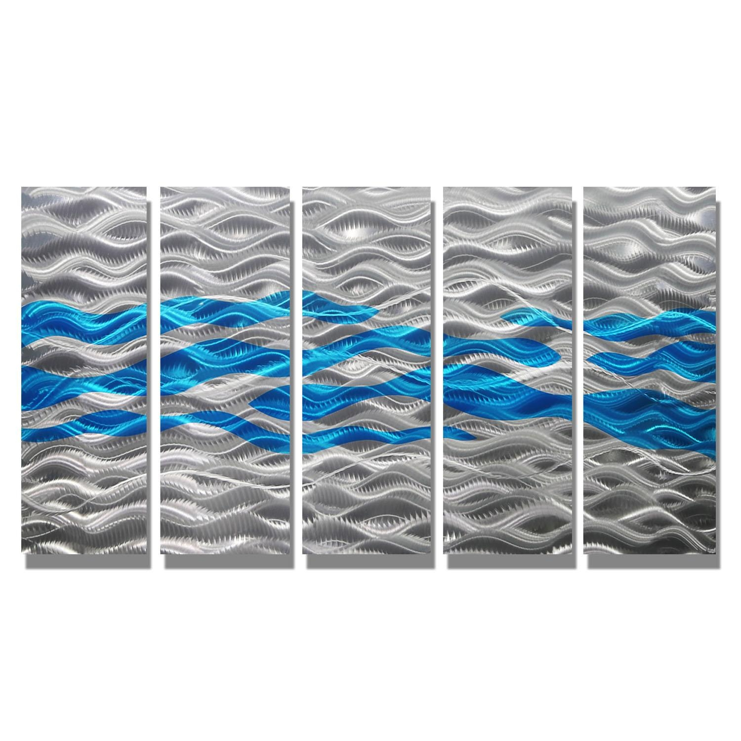 Aqua Oceana – Silver And Aqua Metal Wall Art – 5 Panel Wall Décor Pertaining To Blue And Silver Wall Art (Image 4 of 20)