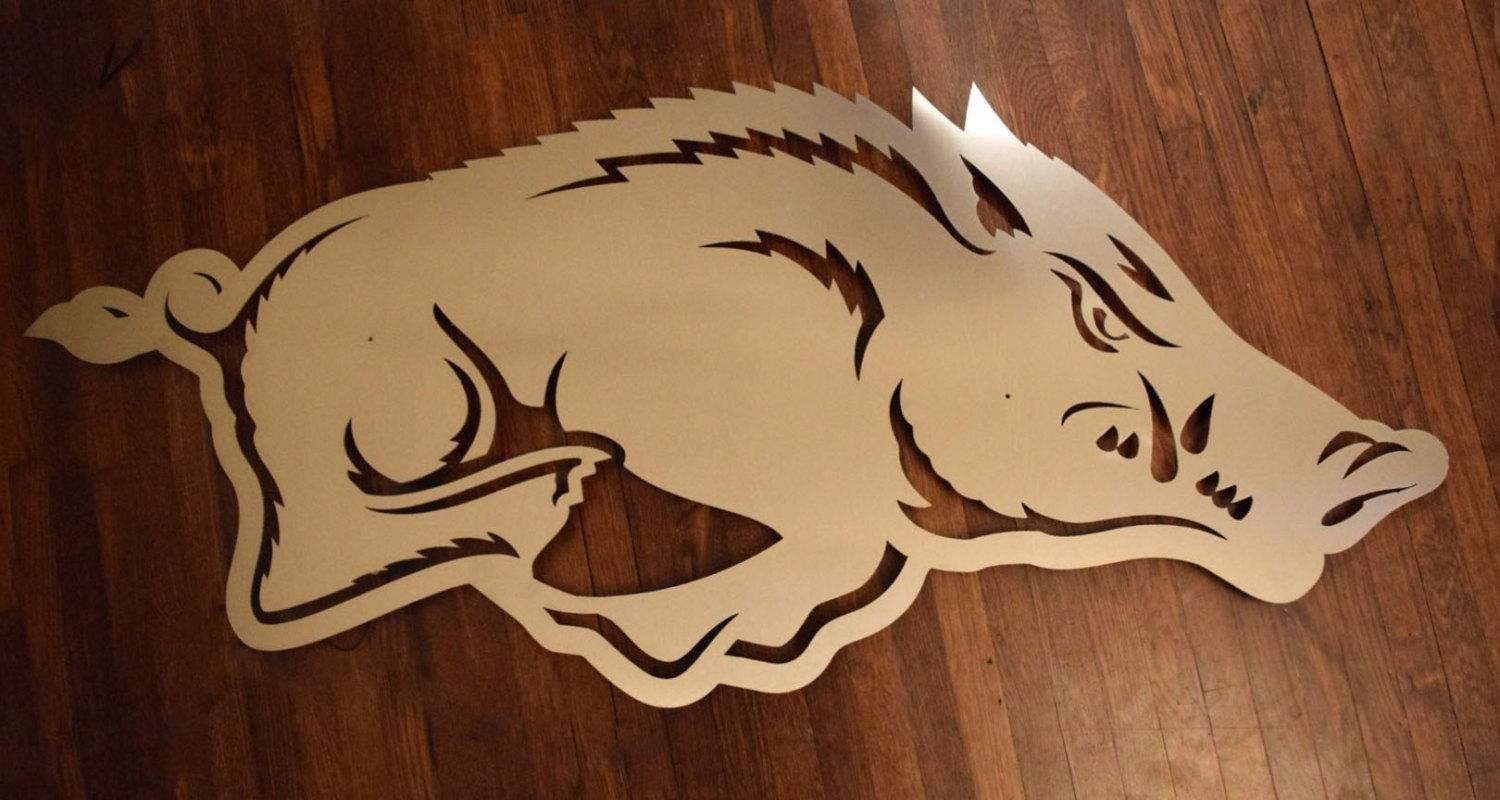 Arkansas Razorback Logo Floating Metal Wall Art Within Razorback Wall Art (View 3 of 20)