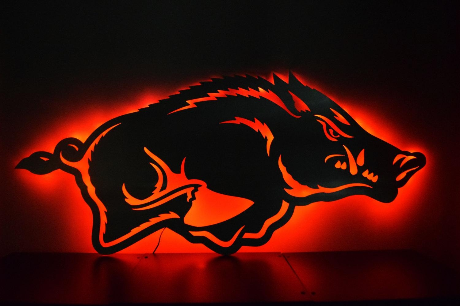 Arkansas Razorback Logo Led Backlit Floating Metal Wall Art Within Razorback Wall Art (Image 3 of 20)