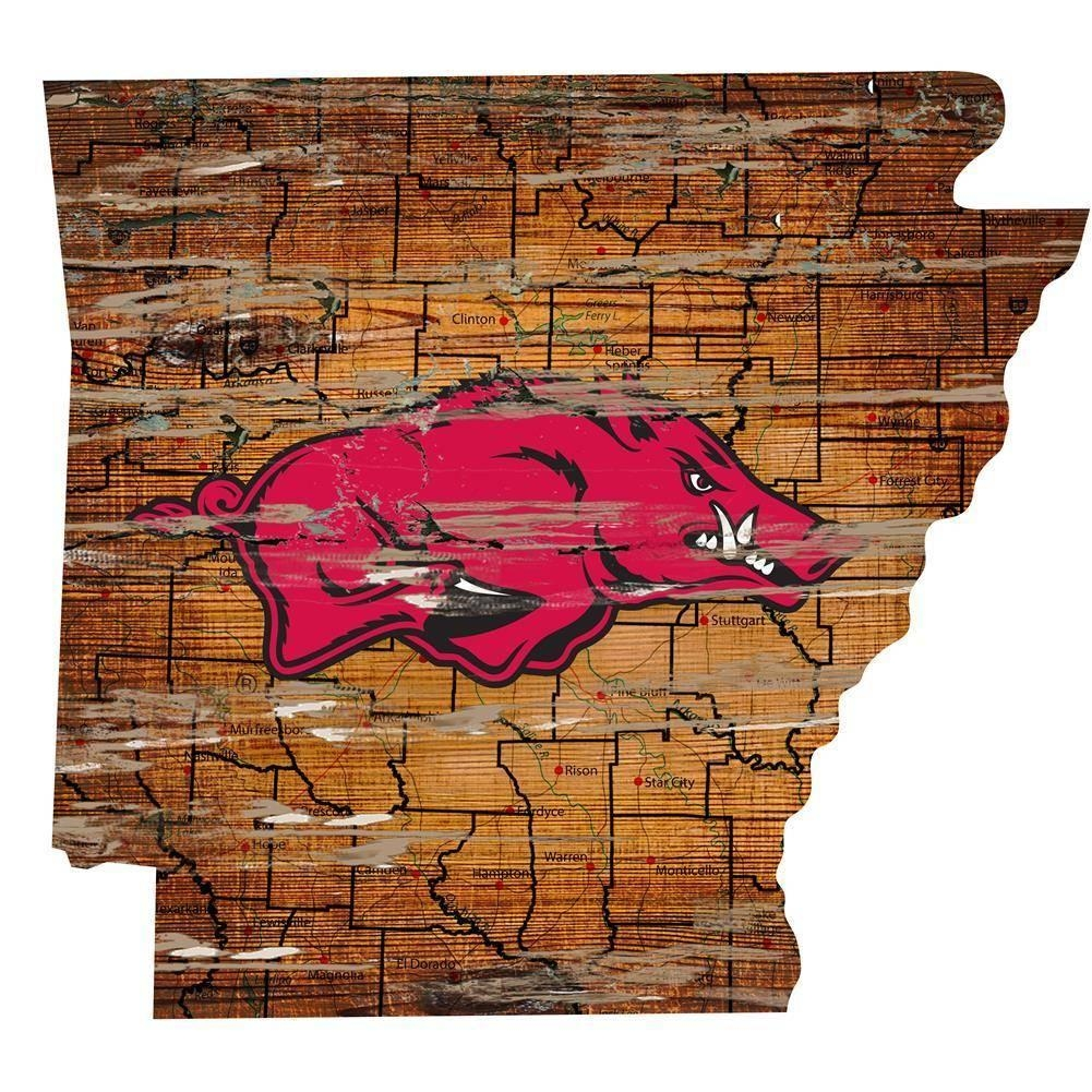 Arkansas Razorback State Map Wall Art Vintage Logo Sign – The In Vintage Map Wall Art (Image 2 of 20)