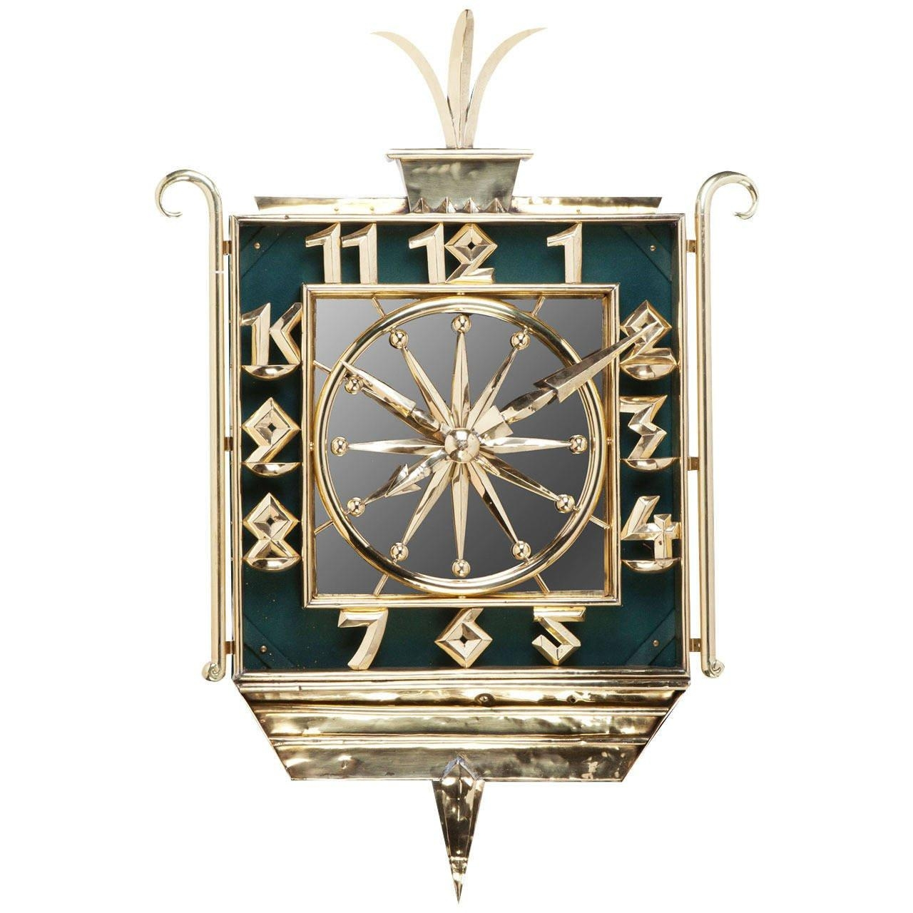 Art Deco Brass And Mirrored Wall Clock At 1Stdibs In Art Deco Wall Clocks (Image 2 of 20)