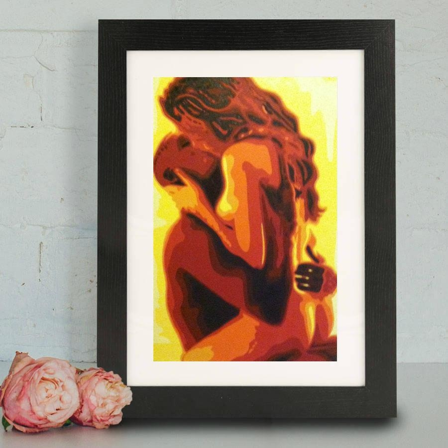 Art Print Sensual Couple Print Fine Art Print Painting Within Sensual Wall Art (View 4 of 20)