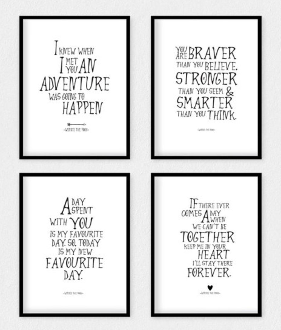 Art R Us  Best Art Print Posters Toronto: September 2015 Inside Winnie The Pooh Nursery Quotes Wall Art (Image 3 of 20)