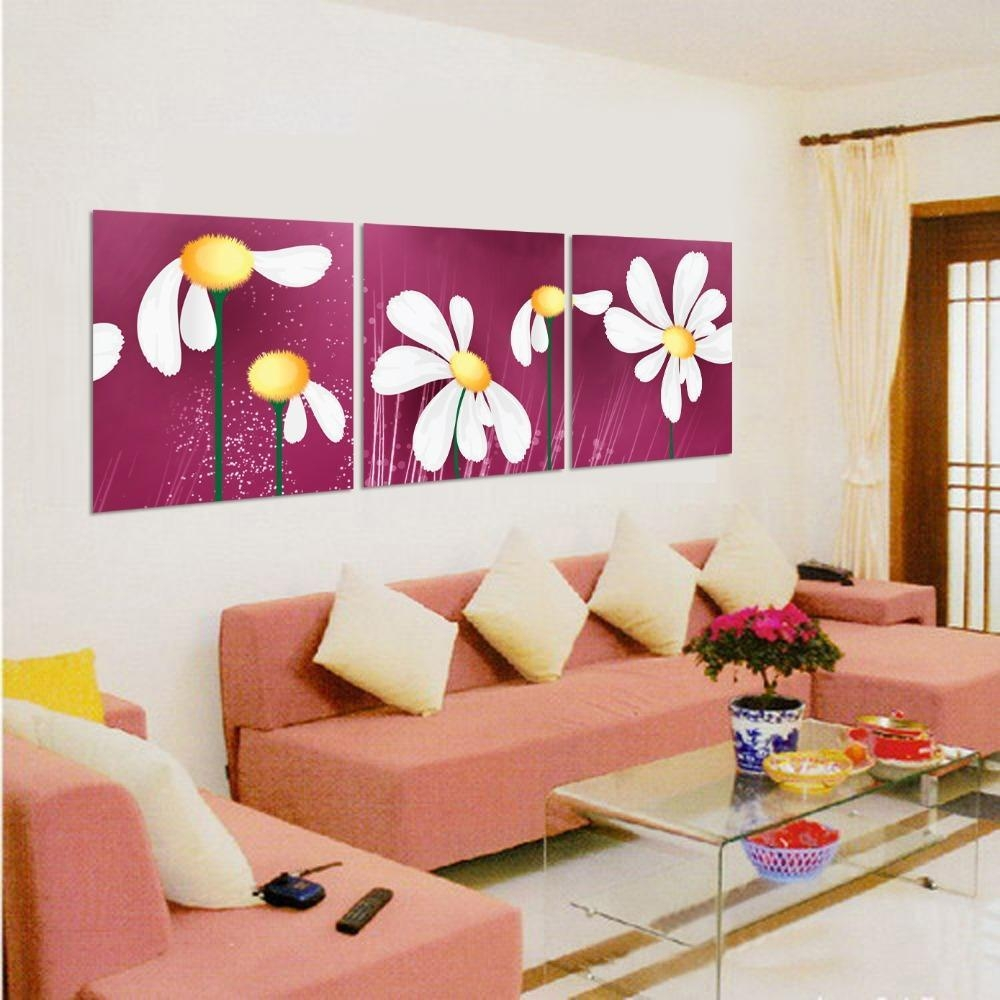 Art Sets Paintings Canvas Flowers Abstract Paintings Living Room Pertaining To 3 Piece Modern Wall Art (Image 12 of 20)