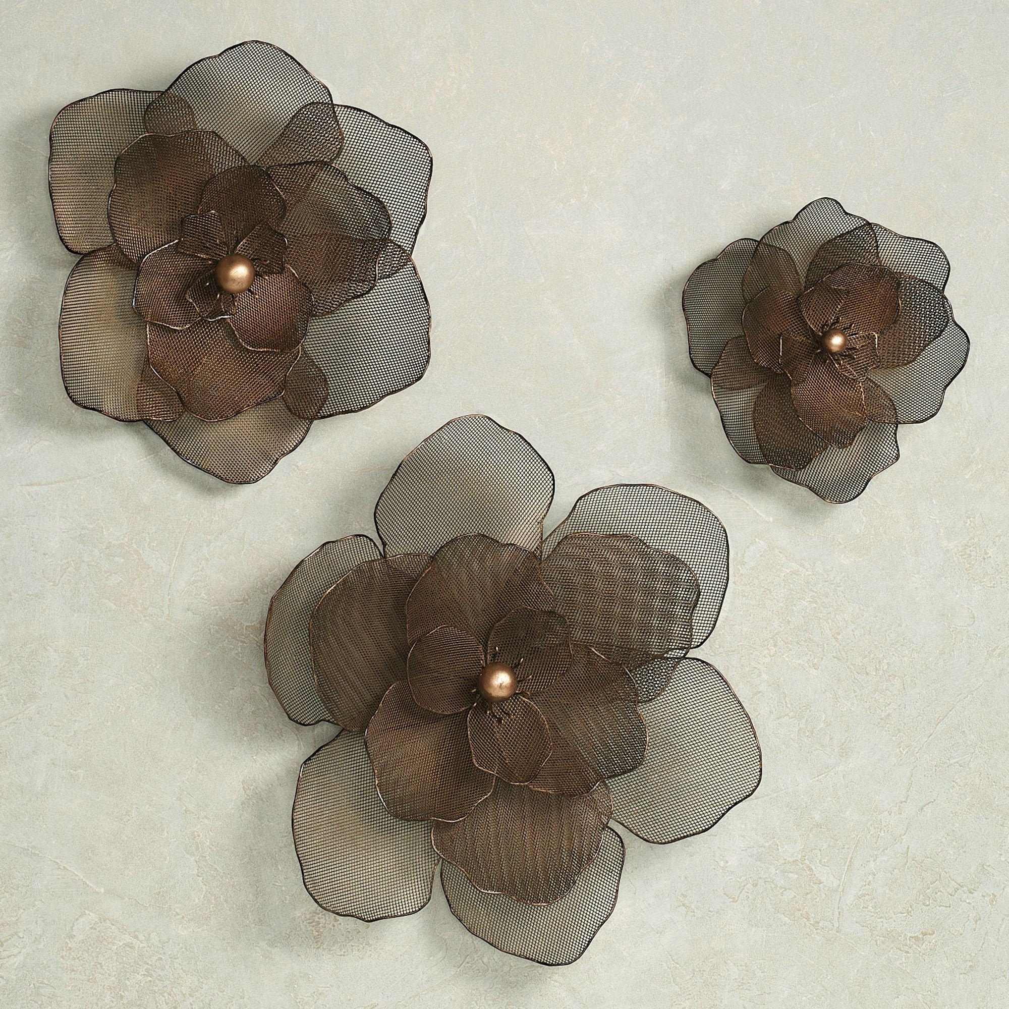 Asataire Flower Blossom Metal Wall Art Set Intended For Metallic Wall Art (Image 2 of 20)