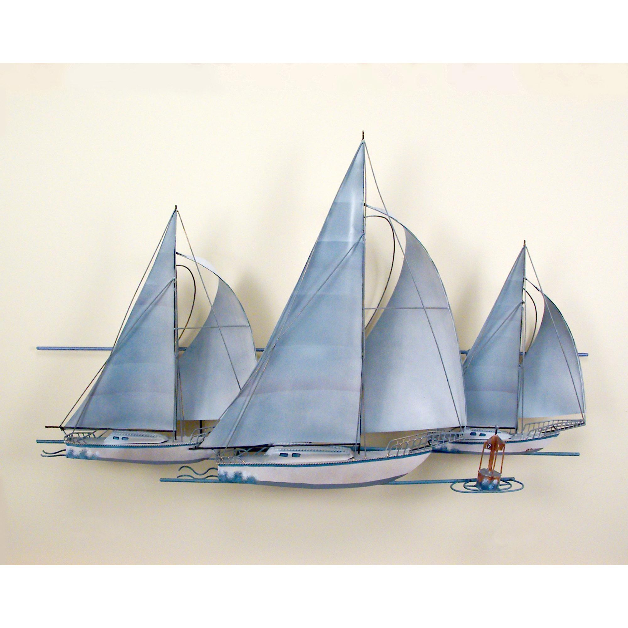 At The Races,three Sail Boats, Race, Wall Art, Wall Hanging Throughout Sailboat Metal Wall Art (Image 3 of 20)