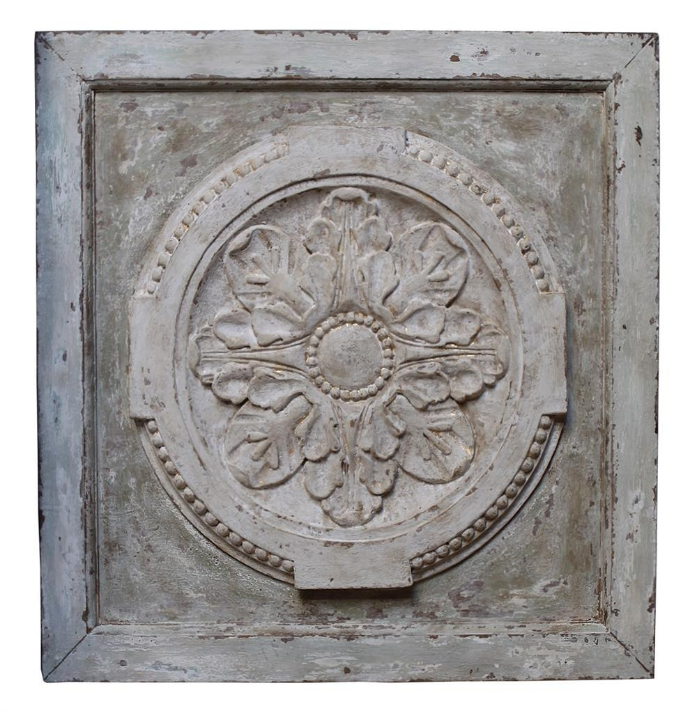 Athenia Greek Distressed French Country Vintage Carved Wood Panel Within Greek Wall Art (Image 1 of 20)