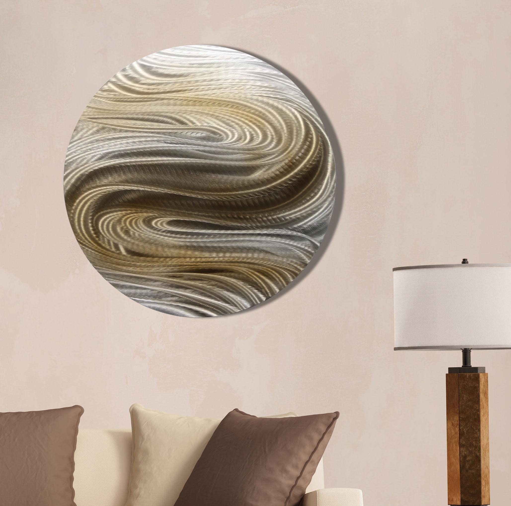 Aurora Stream Brown – Silver & Brown Contemporary Round Metal Wall For Silver And Gold Wall Art (View 11 of 20)