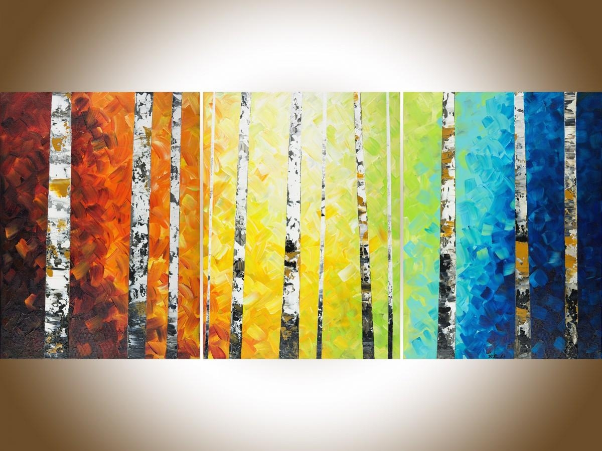 "Autumn Birch Trees Iiqiqigallery 54"" X 24"" Original Oil For Yellow And Blue Wall Art (Image 4 of 20)"