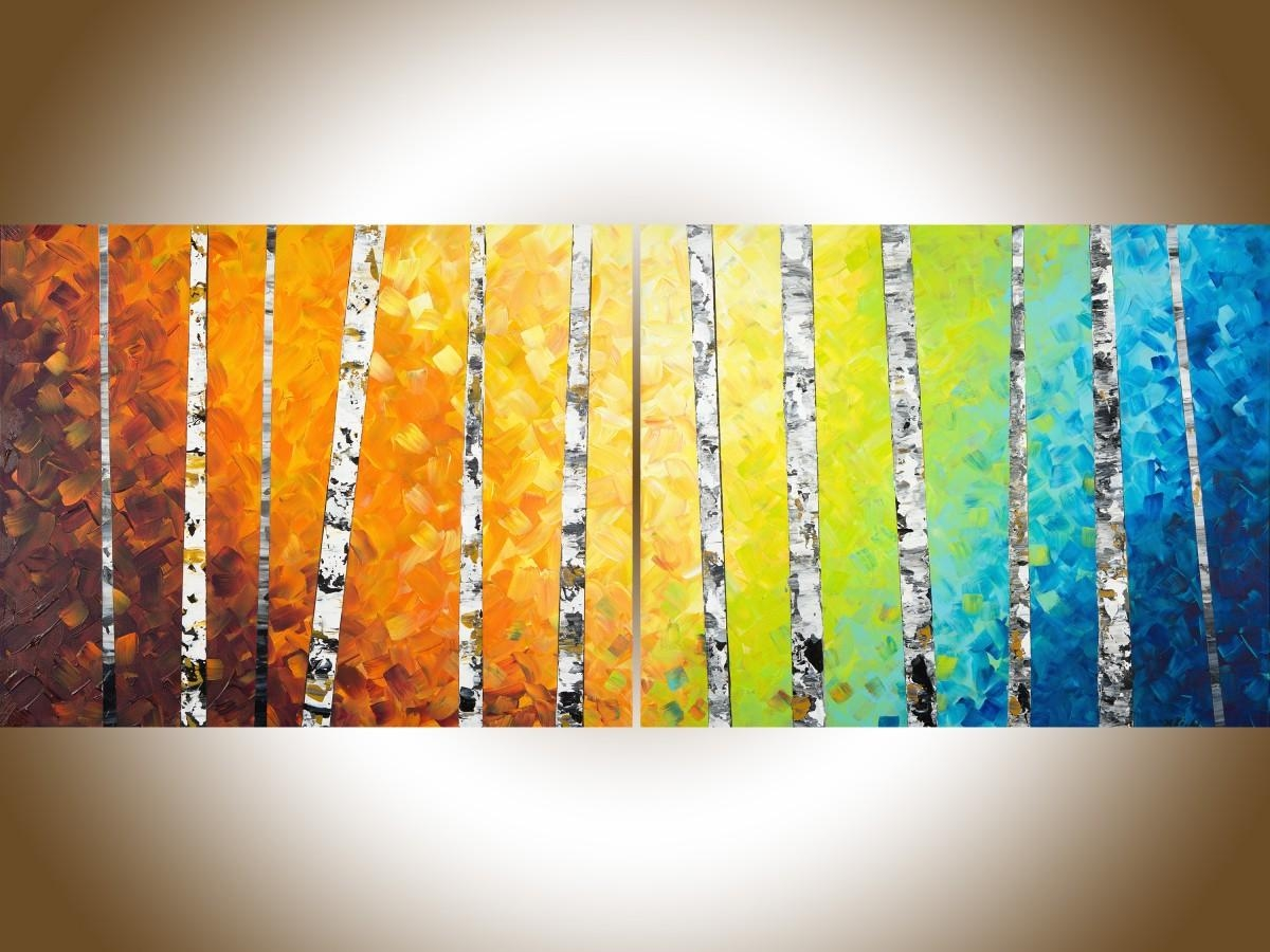 """Autumn Birch Trees Iiqiqigallery 54"""" X 24"""" Original Oil Within Yellow And Blue Wall Art (Image 5 of 20)"""