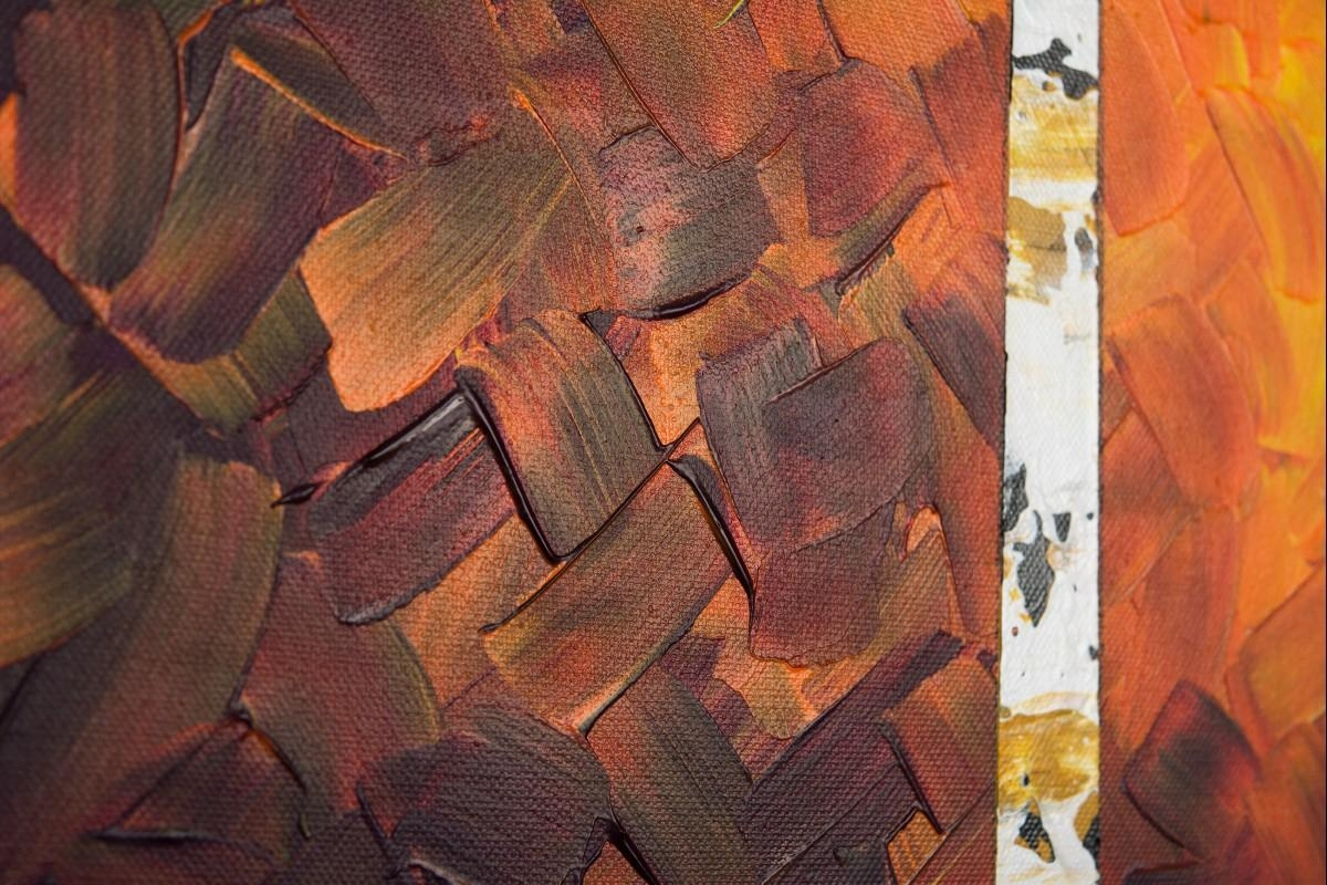 """Autumn Birch Treesqiqigallery 60"""" X 24"""" Original Oil Painting In Red And Yellow Wall Art (Image 6 of 20)"""