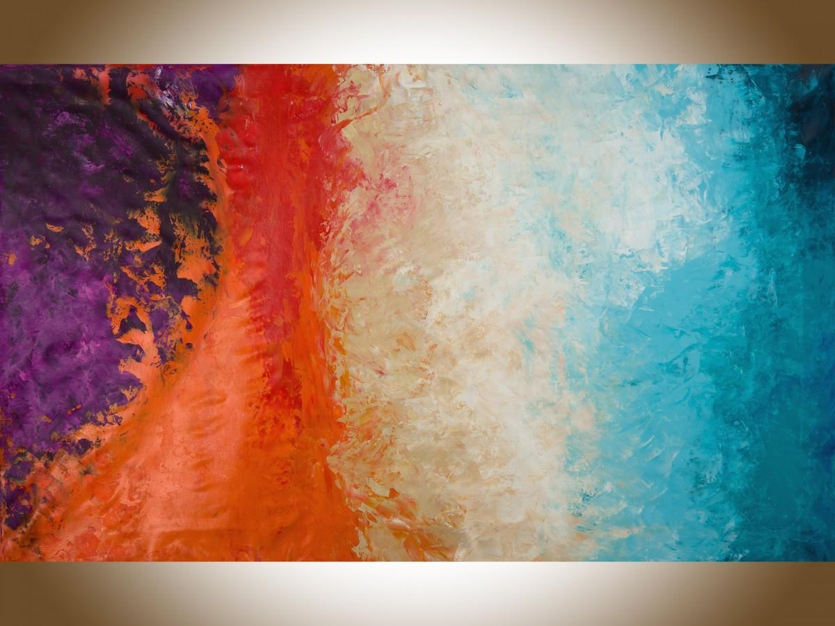 """Autumn Harvestqiqigallery 60""""x36"""" Un Stretched Canvas Original With Regard To Red And Turquoise Wall Art (Image 3 of 20)"""