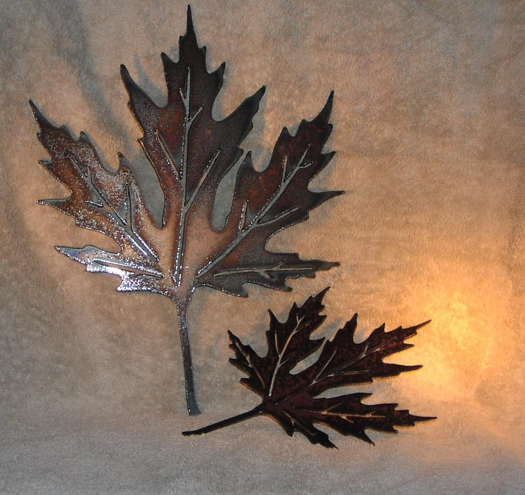 Autumn Leaves Metal Wall Decor Suitable For Indoors Or For Kohl's Metal Wall Art (Image 2 of 20)