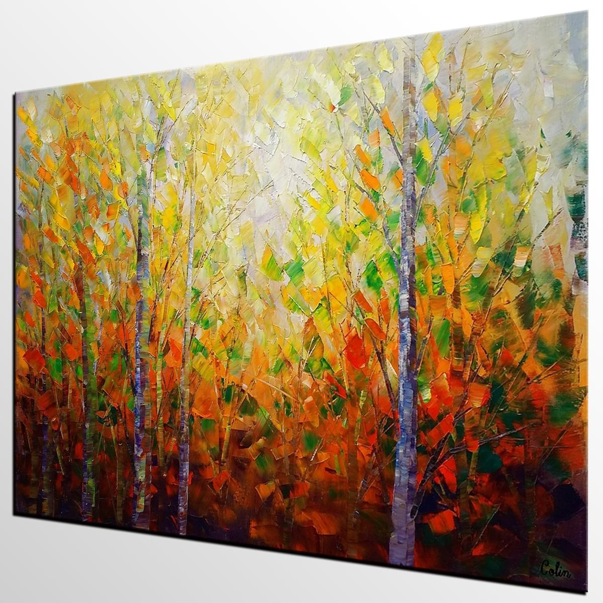 Autumn Tree Painting, Large Wall Art, Landscape Painting, Large Inside Huge Wall Art Canvas (Image 3 of 20)