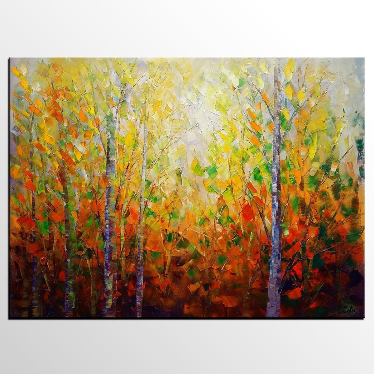 Autumn Tree Painting, Large Wall Art, Landscape Painting, Large Within Oil Painting Wall Art On Canvas (View 17 of 20)