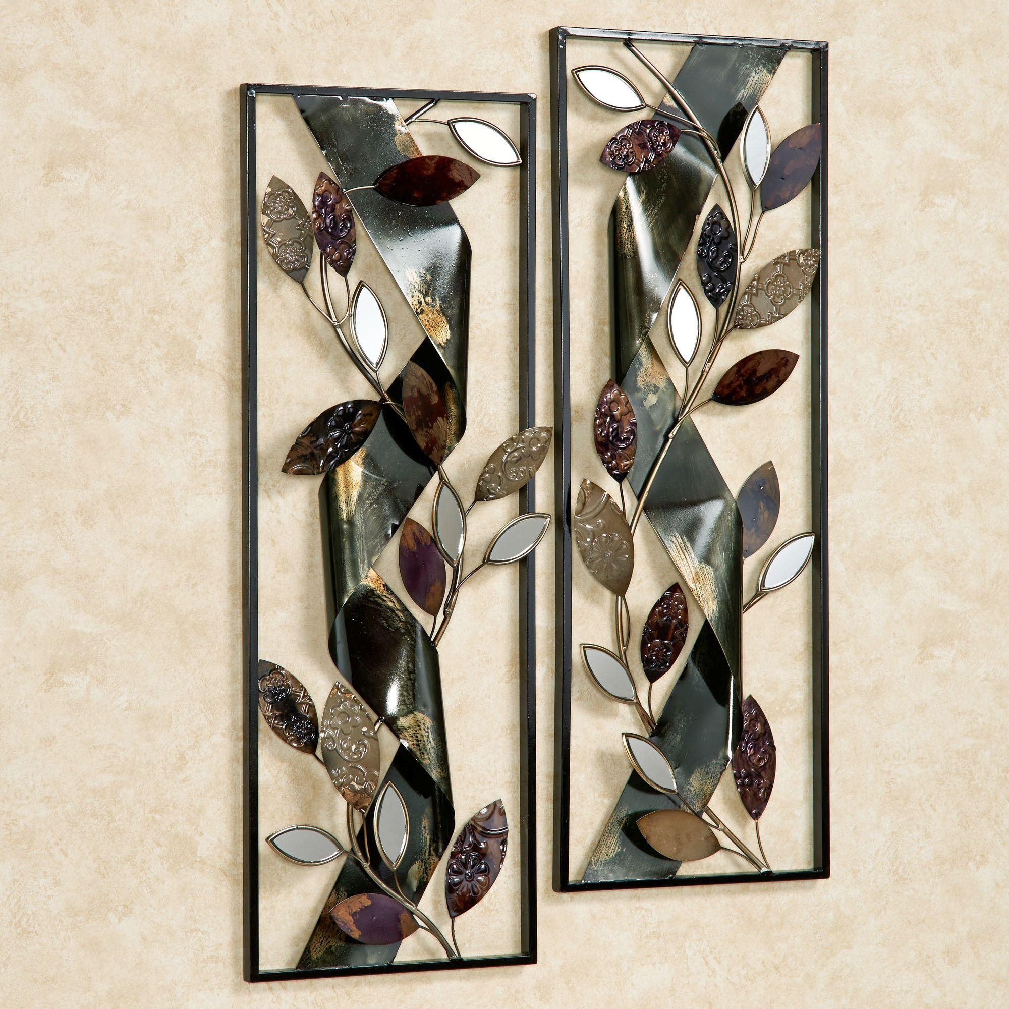 Autumn Whisper Metal Wall Art Panel Set Throughout Rectangular Metal Wall Art (Image 1 of 20)