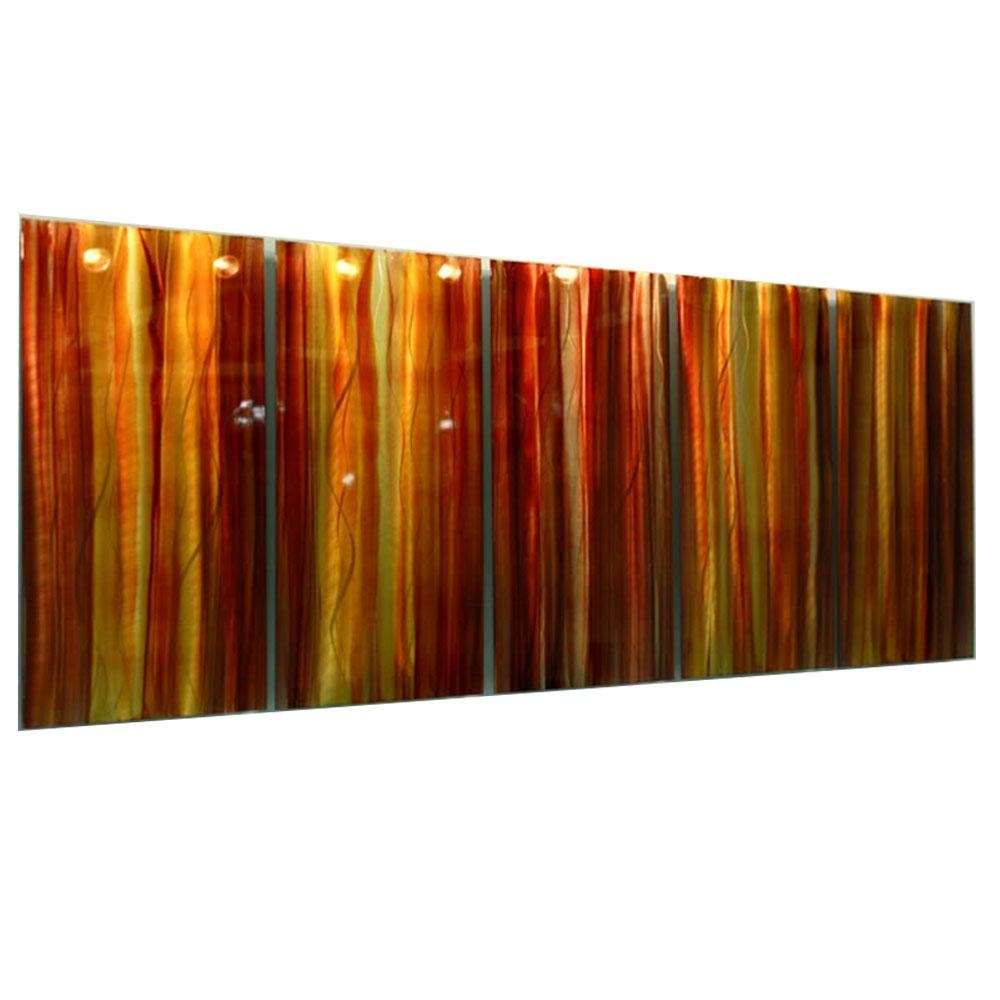 Autumns Prism Xl – Extra Large Red, Yellow & Orange Contemporary For Horizontal Metal Wall Art (View 14 of 20)