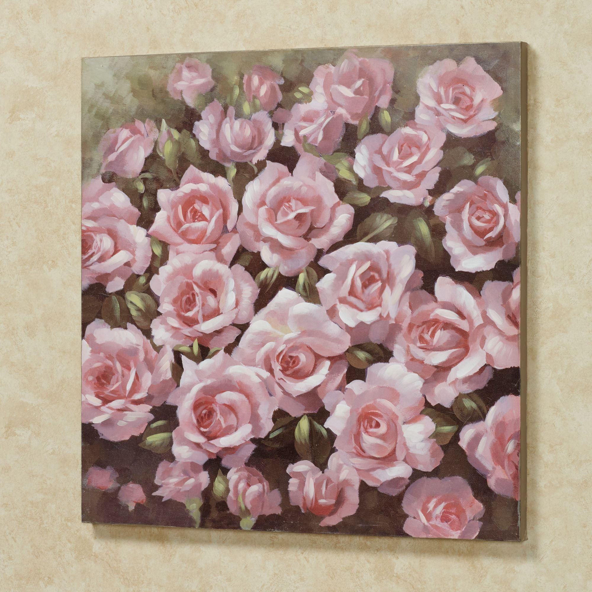 Averie Pink Rose Canvas Wall Art Inside Floral Wall Art Canvas (Image 2 of 20)