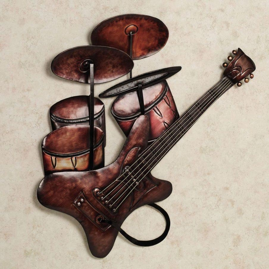 Awesome Music Notes Metal Wall Art Vintage Painting Music Guitar In Music Metal Wall Art (Image 3 of 20)