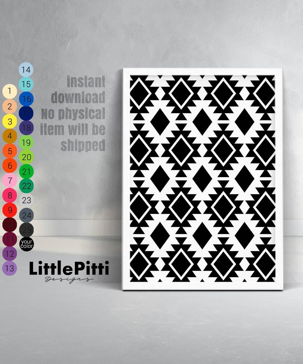 Aztec Pattern Print Tribal Digital Print Tribal Wall Art Intended For Pattern Wall Art (View 5 of 20)