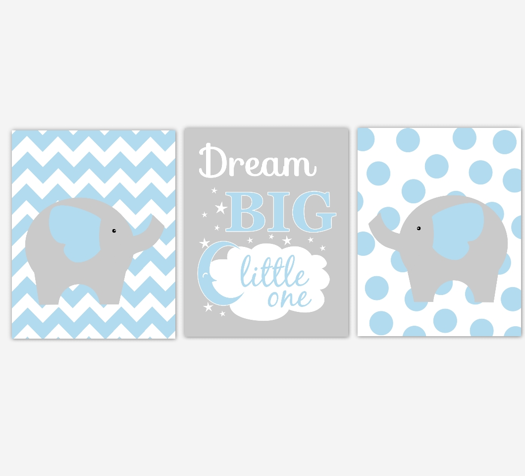 Baby Boys Nursery Canvas Wall Art Blue Gray Grey Dream Big Little Pertaining To Kids Canvas Wall Art (View 15 of 20)