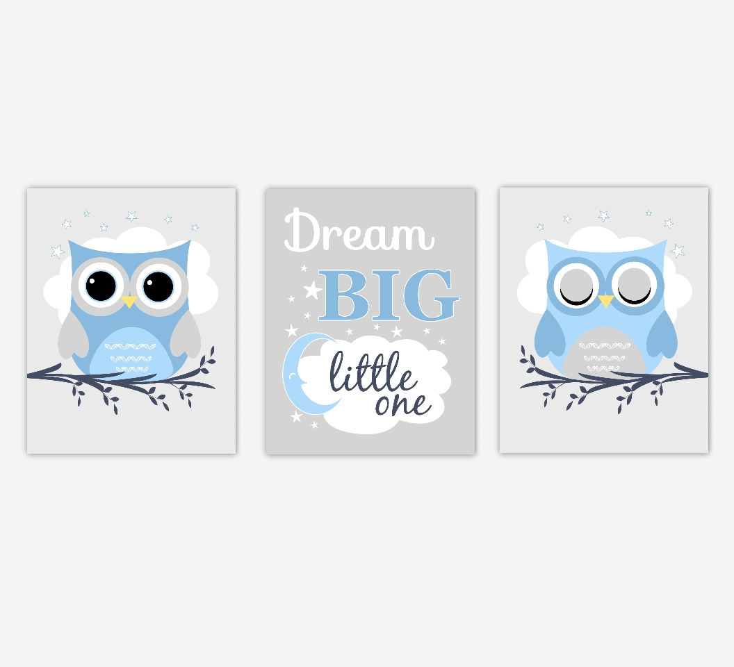 Baby Boys Nursery Canvas Wall Art Blue Gray Grey Dream Big Little With Kids Canvas Wall Art (Image 4 of 20)