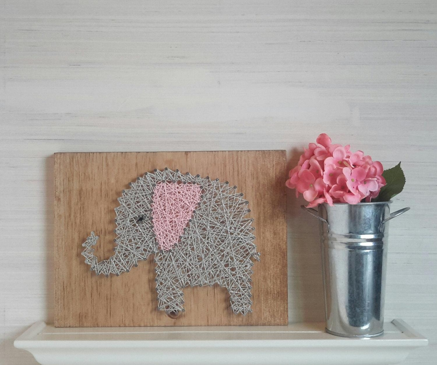 Baby Elephant String Art Wooden Wall Art For Girls Nursery With Regard To Pink And Grey Wall Art (Image 2 of 20)