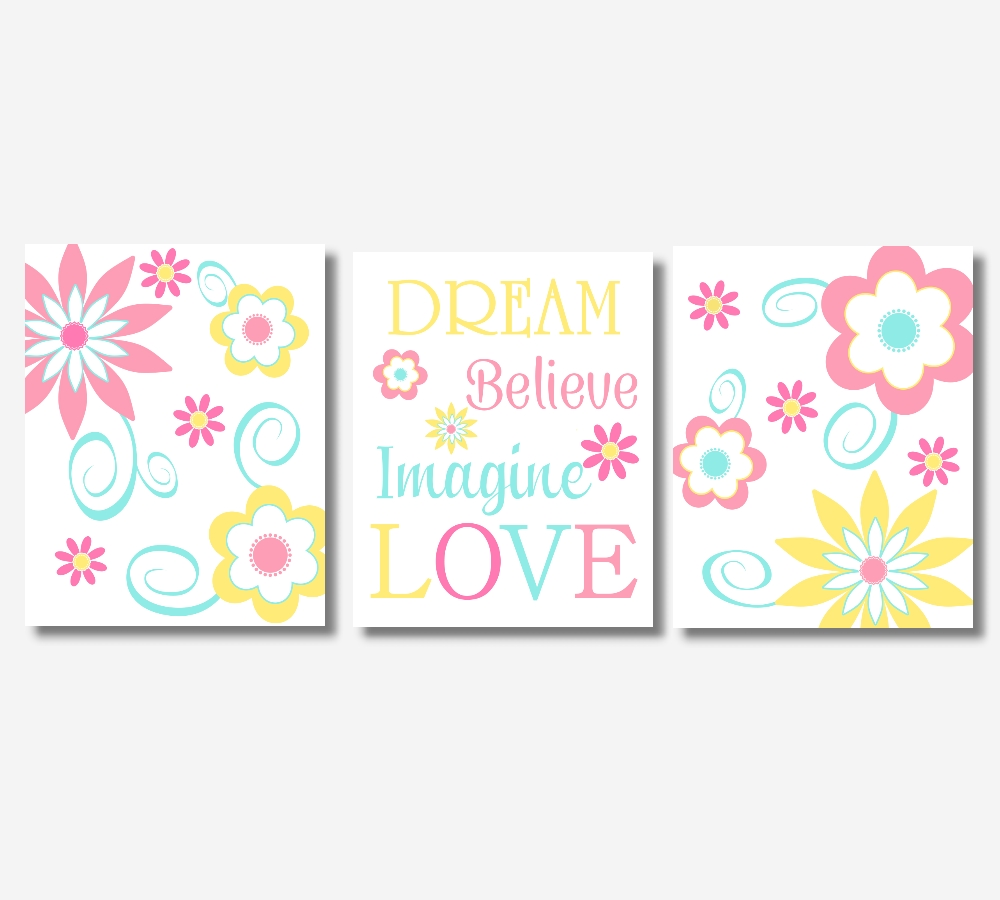 Baby Girl Canvas Nursery Wall Art Pink Yellow Teal Aqua Modern Regarding Girls Canvas Wall Art (Image 1 of 20)