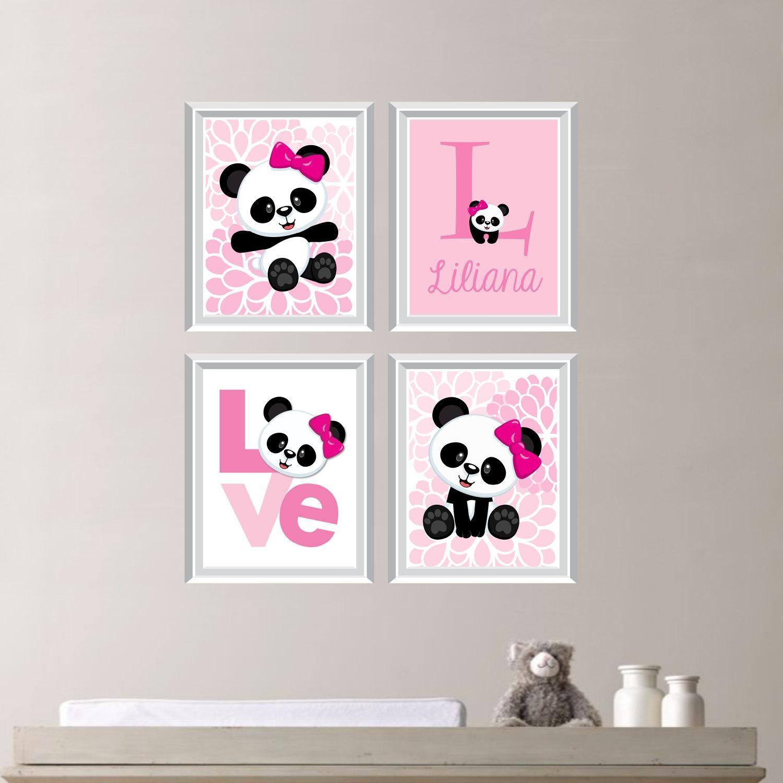 Baby Girl Nursery Art Print Panda Bear Nursery Prints Regarding Canvas Prints For Baby Nursery (Image 5 of 20)
