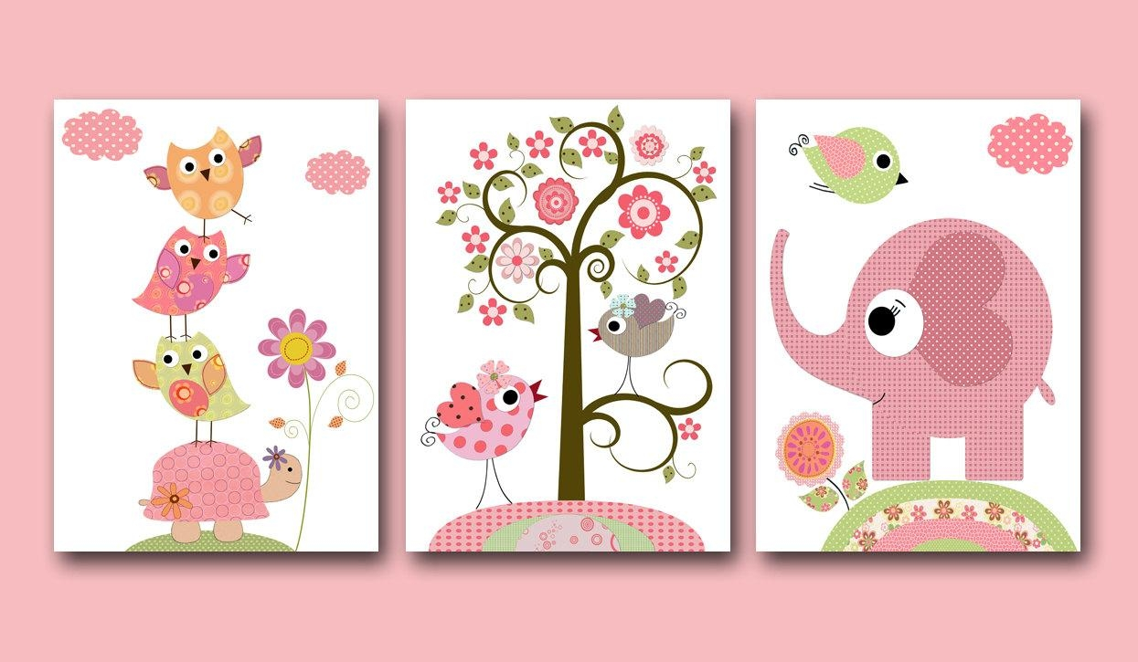 Baby Girl Nursery Print Baby Art Kids Wall Art Baby Girl Room With Baby Wall Art (Image 3 of 20)