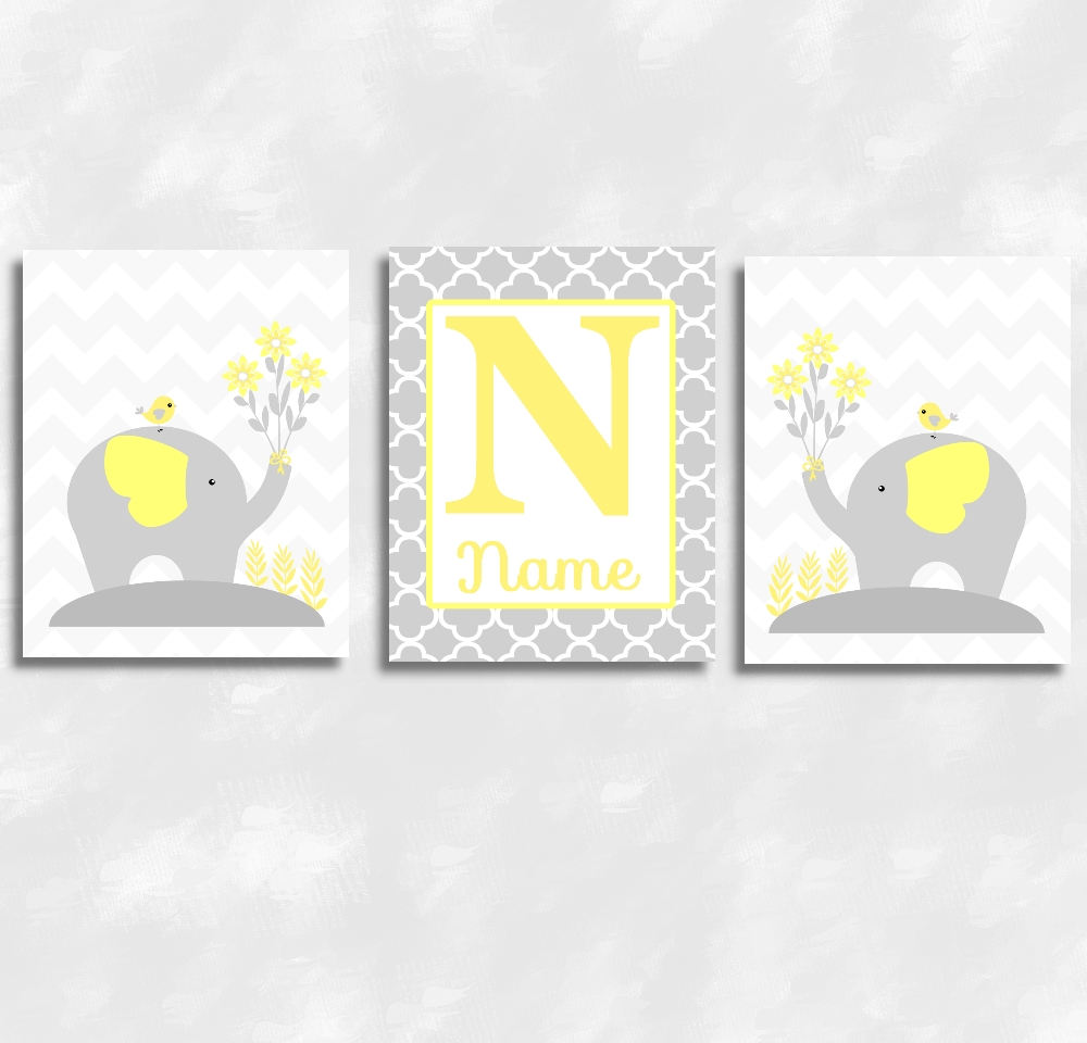 Baby Girls Canvas Nursery Wall Art Yellow Gray Grey Elephants For Yellow Grey Wall Art (Image 2 of 20)