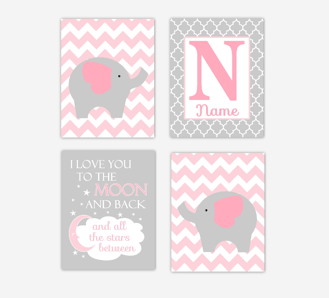 Baby Girls Nursery Canvas Wall Art Pink Gray Grey I Love You To For Girls Canvas Wall Art (Image 2 of 20)