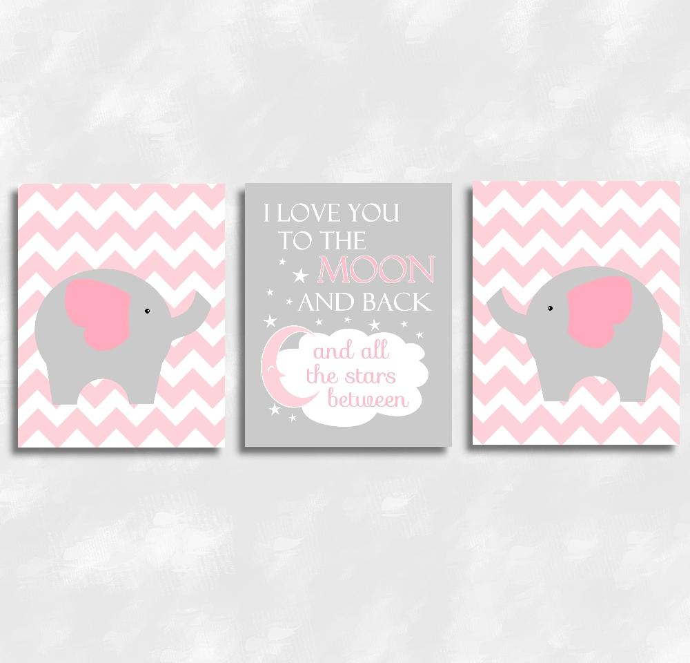 Baby Girls Nursery Canvas Wall Art Pink Gray Grey I Love You To Regarding Nursery Canvas Art (Image 3 of 20)