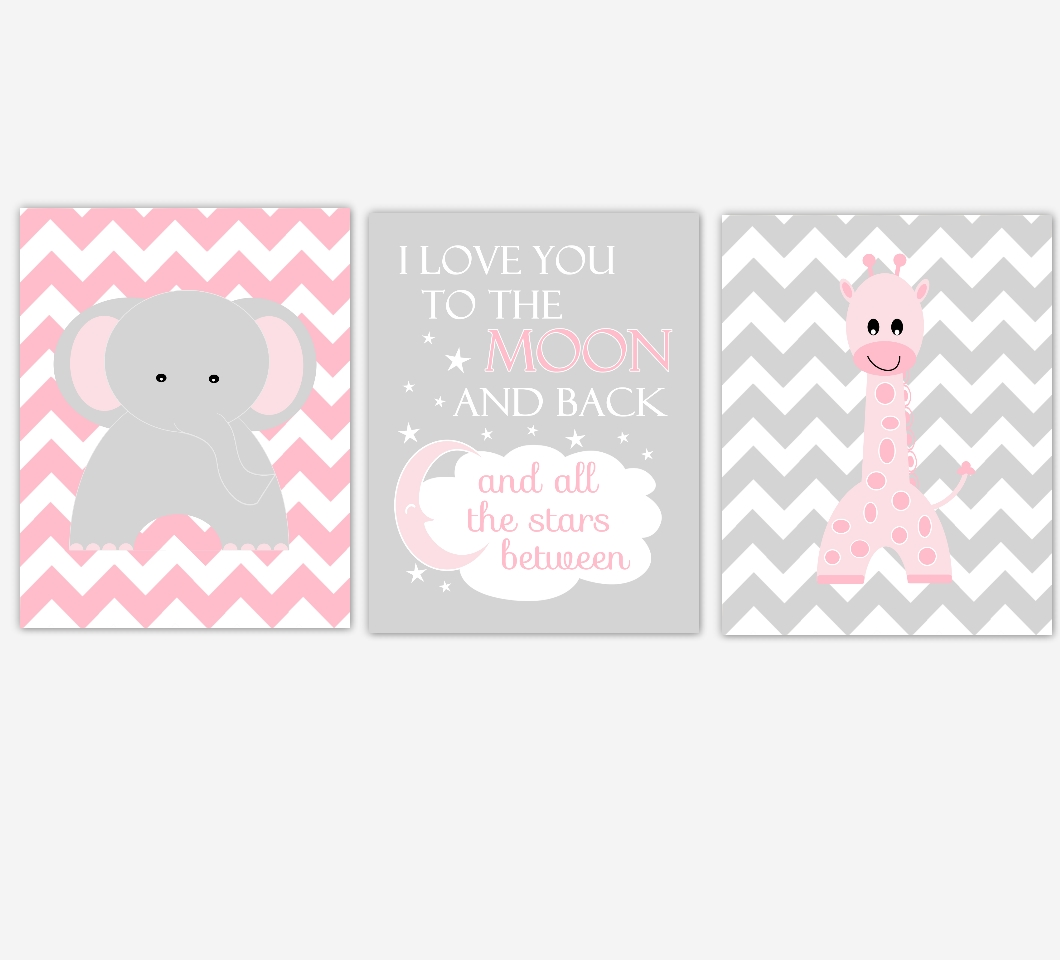 Baby Girls Nursery Canvas Wall Art Pink Gray Grey I Love You To Within Girls Canvas Wall Art (Image 4 of 20)