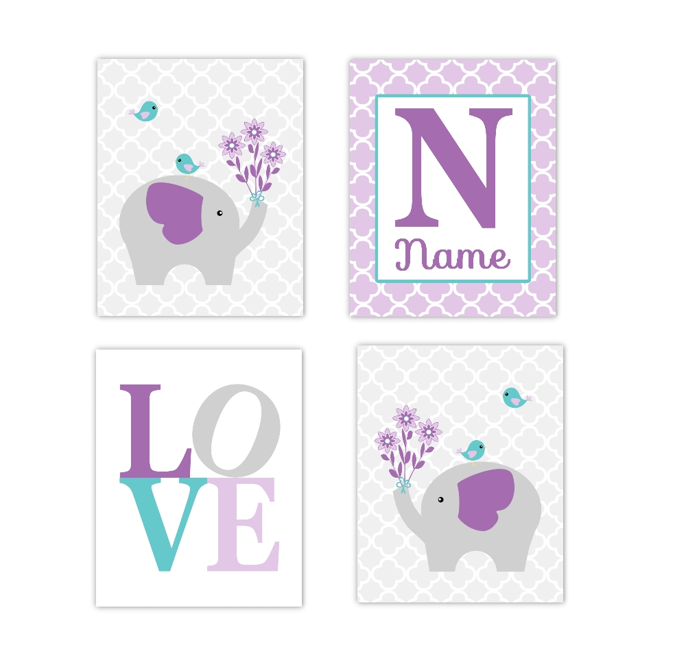 Baby Girls Nursery Canvas Wall Art Purple Lavender Teal Aqua Gray In Canvas Prints For Baby Nursery (View 20 of 20)