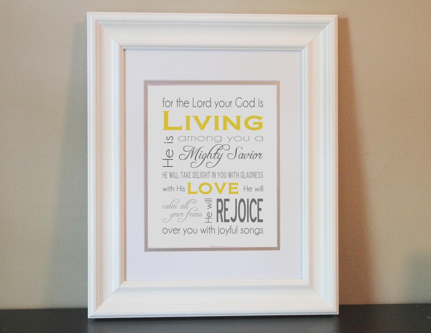 Baby Nursery Art Print Yellow & Gray 8X10 Bible Verse With Bible Verses Framed Art (Image 2 of 20)