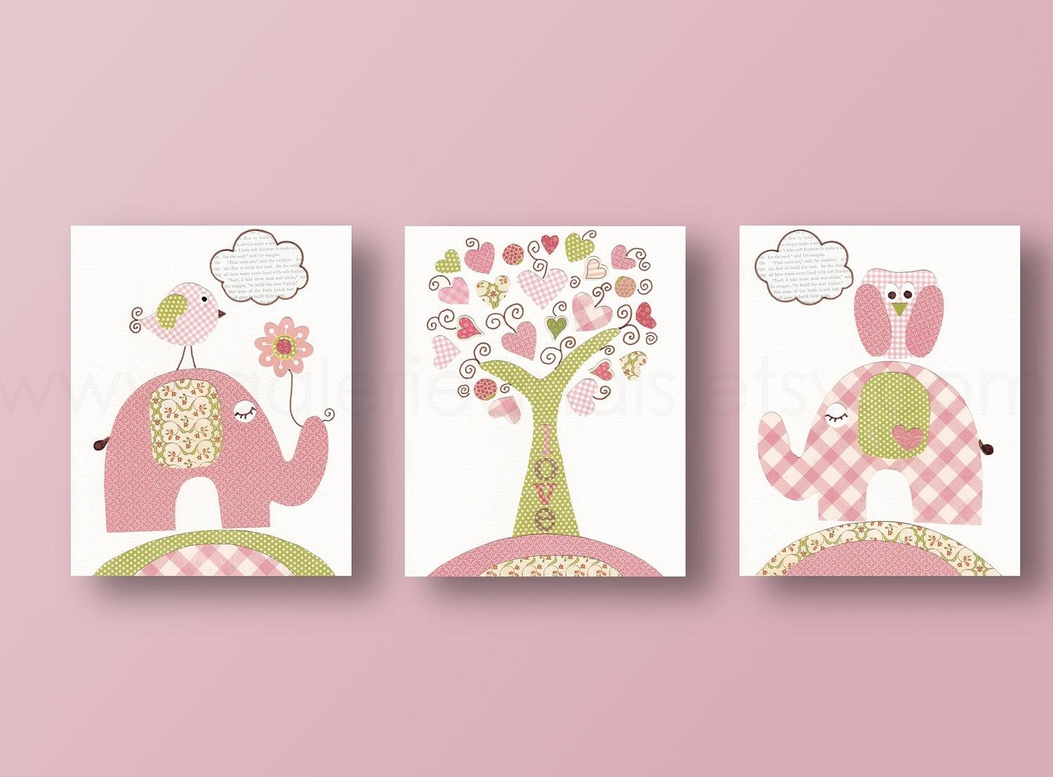 Baby Nursery Decor: Three Baby Nursery Wall Art Panel Simple Trees Pertaining To Etsy Childrens Wall Art (Image 4 of 20)