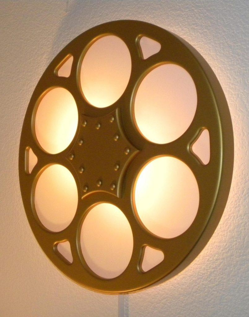 Backlit Film Reel Wall Sconce Home Theater Mart Wall Sconces In Film Reel Wall Art (Image 3 of 20)