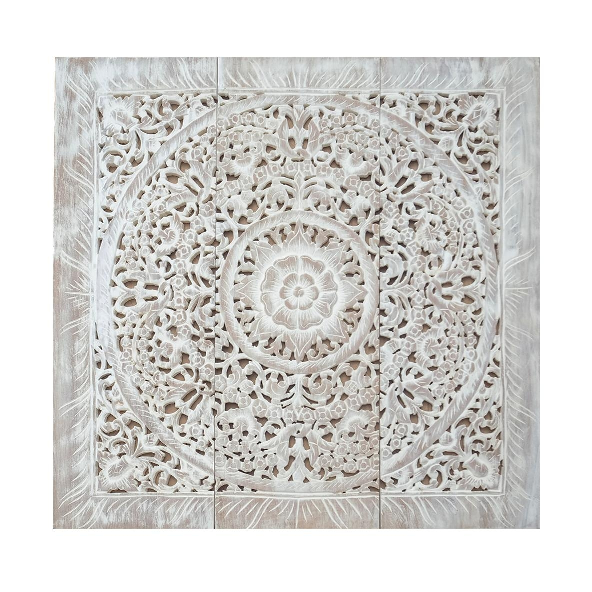 Balinese Antique Wood Carving Wall Art Panel – Siam Sawadee Pertaining To White Wooden Wall Art (Image 4 of 20)