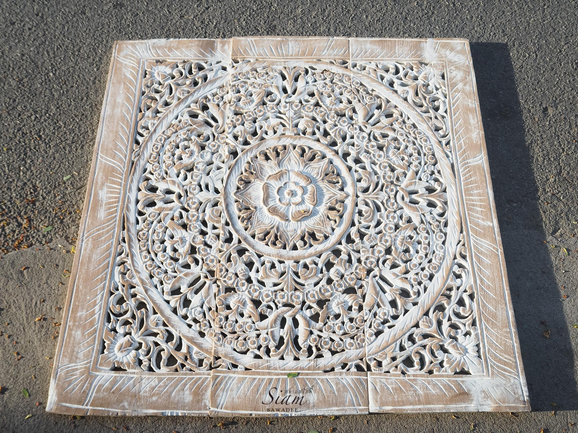 Balinese Antique Wood Carving Wall Art Panel – Siam Sawadee Within Wood Carved Wall Art Panels (Image 1 of 20)