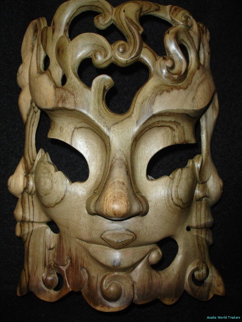 Balinese Mask Trinity Trimurti Bali Wall Art Tresna | Bali Art For Balinese Wall Art (Image 7 of 20)