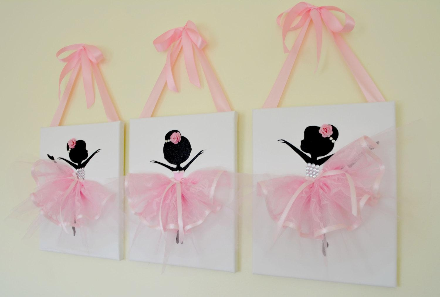 Ballerina Nursery Wall Art In Pink And White (View 20 of 20)