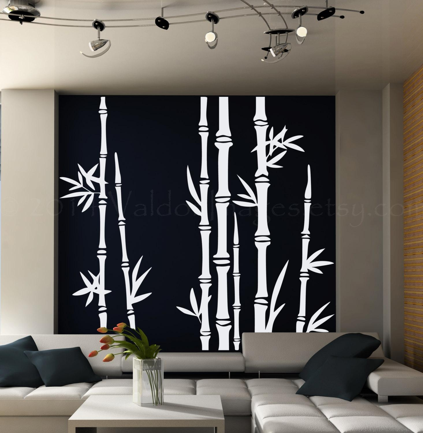 Bamboo Tree Wall Decal Living Room Wall Decal Tree Wall For Pine Tree Wall Art (Image 3 of 20)