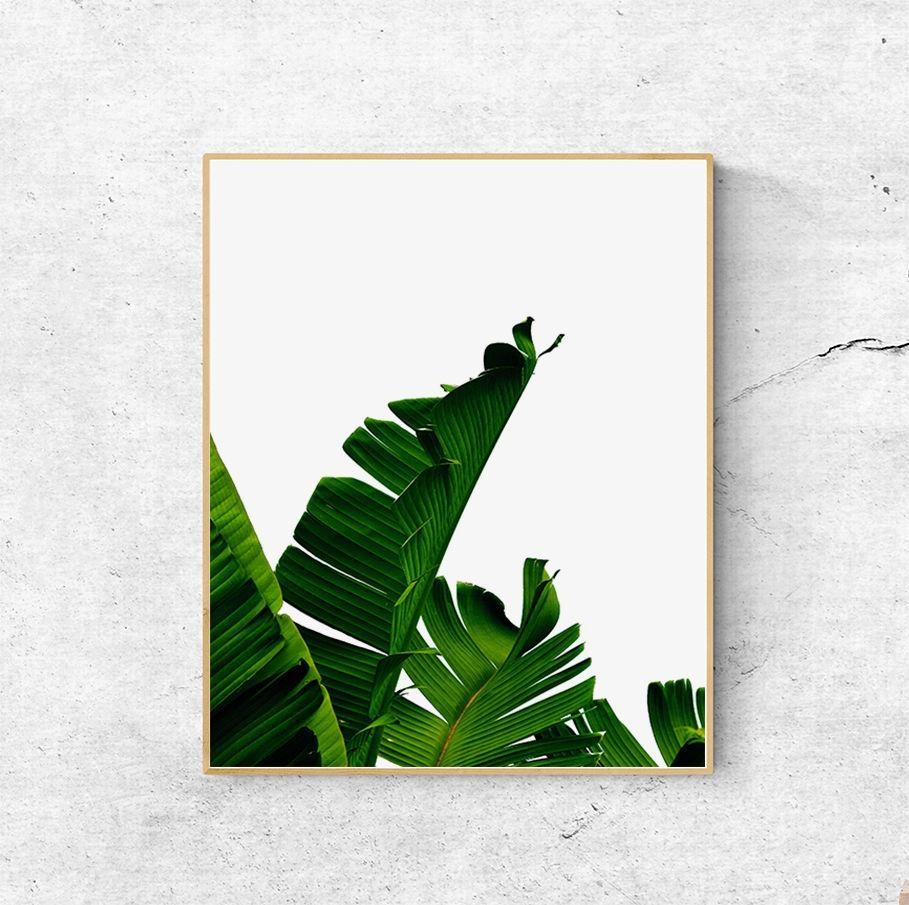 Banana Leaf Print Palm Leaf Scandinavian Print Wall Art With Palm Leaf Wall Art (Image 2 of 20)