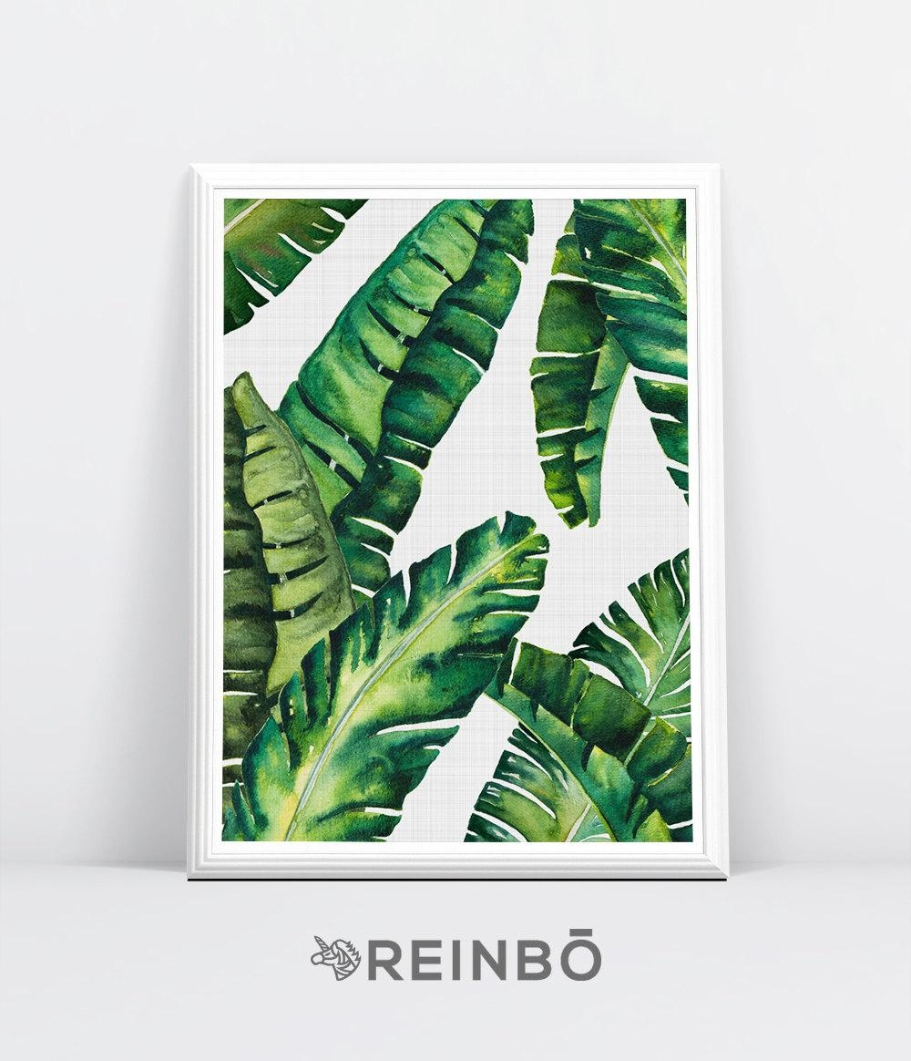 Banana Leaves Banana Leaf Print Palm Wall Decor Tropical With Palm Leaf Wall Art (Image 4 of 20)