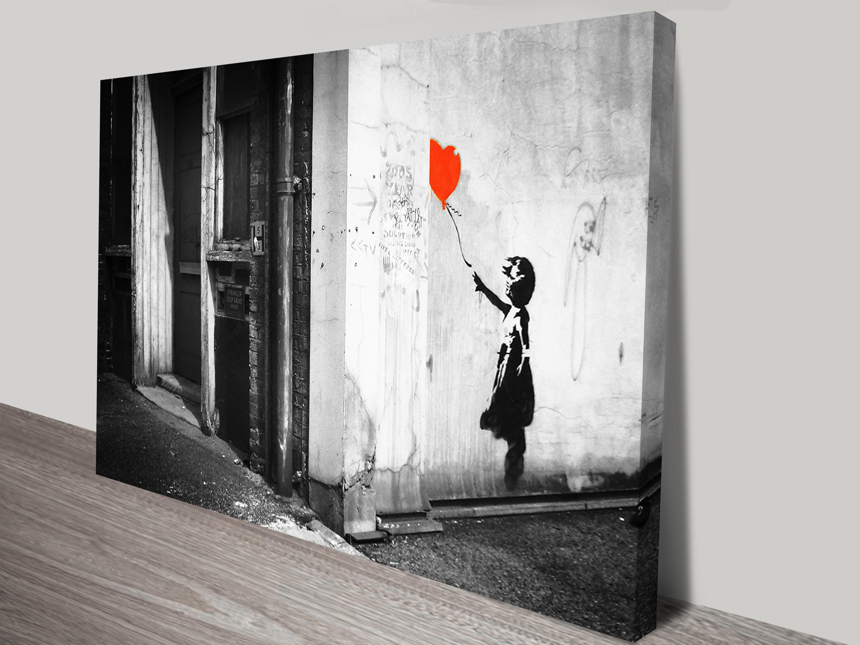 Banksy Balloon Girl Black & White Print On Canvas For Banksy Canvas Wall Art (Image 2 of 20)