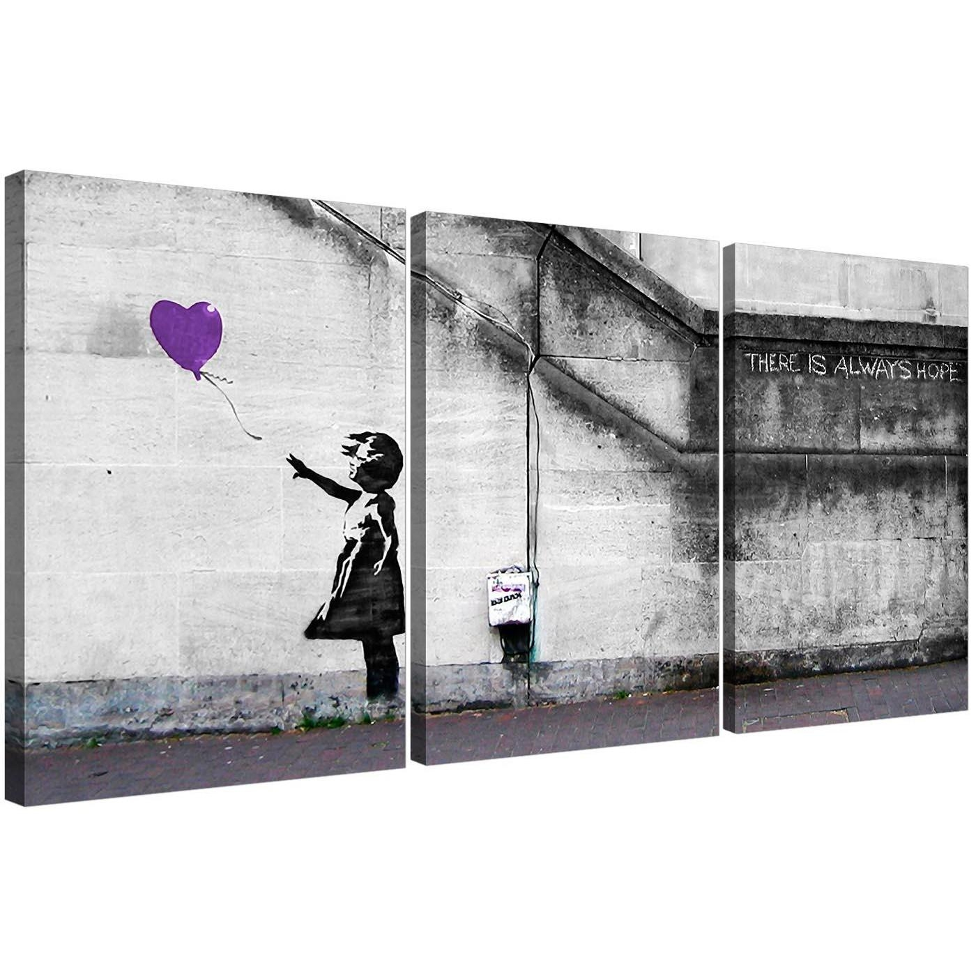 Banksy Balloon Girl Canvas Prints Set Of 3 For Your Study Inside Banksy Canvas Wall Art (Image 3 of 20)